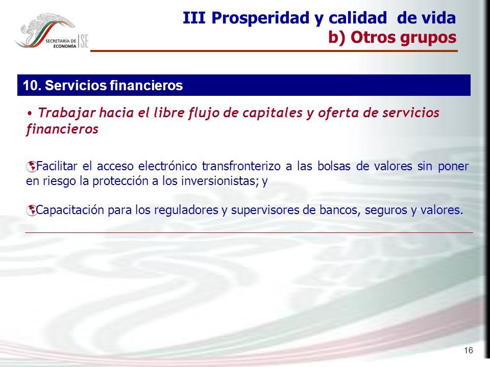 16 III Prosperidad y calidad de vida b) Otros grupos Facilitar el acceso electrónico transfronterizo a las bolsas de valores sin poner en riesgo la pr