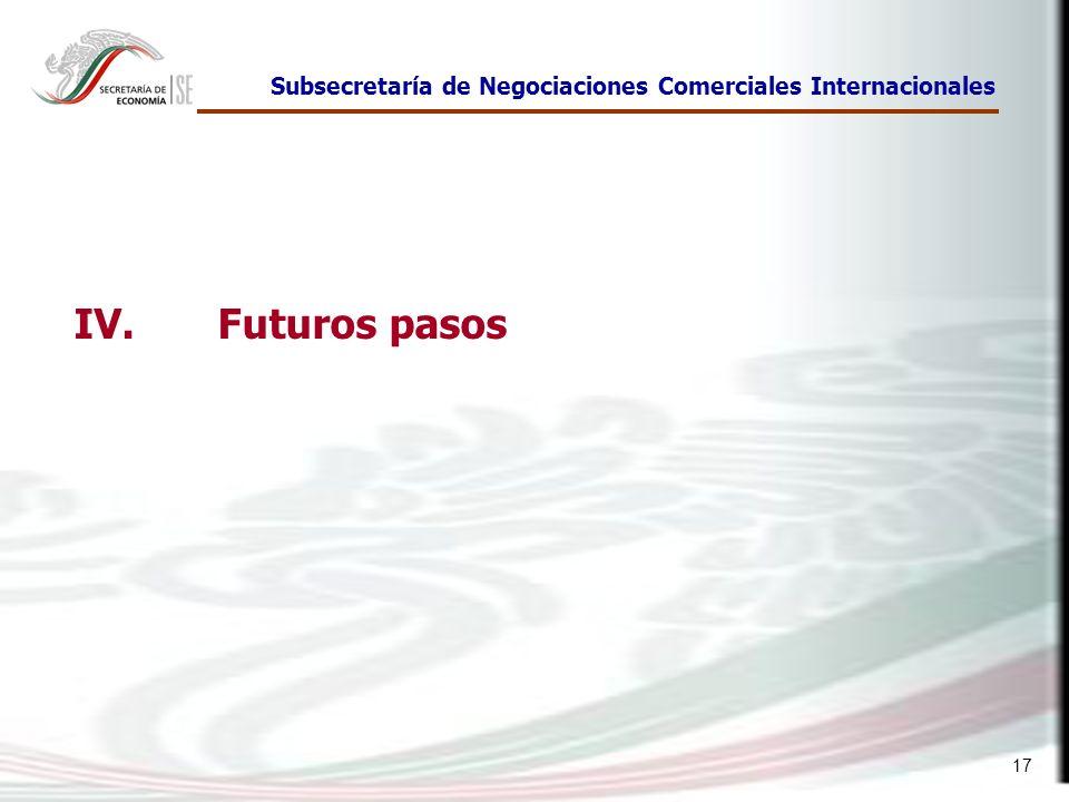 17 Subsecretaría de Negociaciones Comerciales Internacionales IV. Futuros pasos