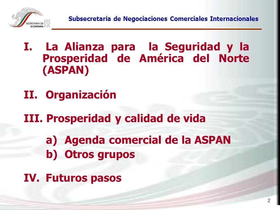 2 I. La Alianza para la Seguridad y la Prosperidad de América del Norte (ASPAN) II. Organización III. Prosperidad y calidad de vida a)Agenda comercial