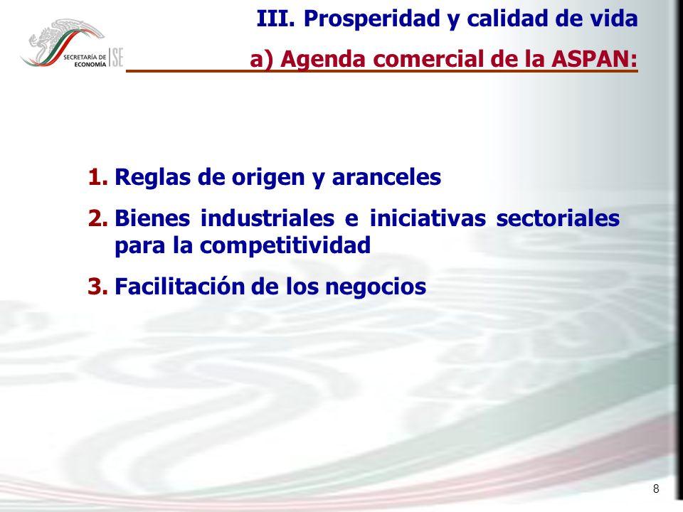 8 1.Reglas de origen y aranceles 2.Bienes industriales e iniciativas sectoriales para la competitividad 3.Facilitación de los negocios III. Prosperida