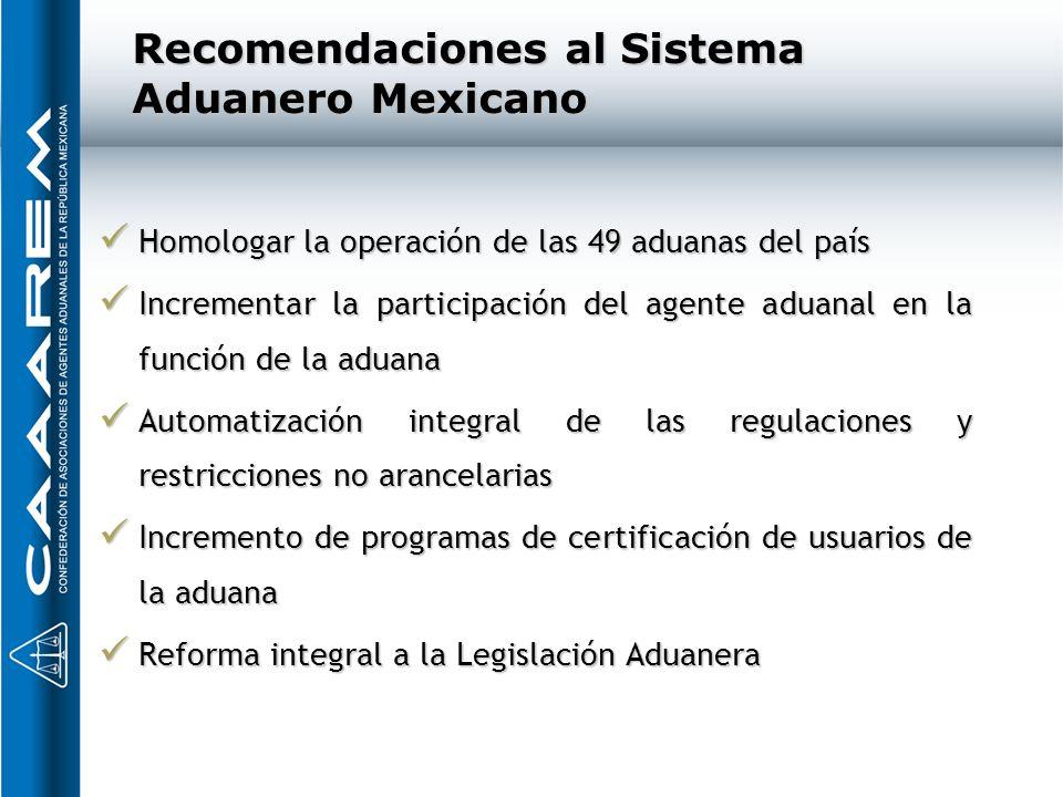 Recomendaciones al Sistema Aduanero Mexicano Homologar la operación de las 49 aduanas del país Homologar la operación de las 49 aduanas del país Incre