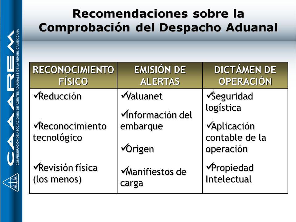 Recomendaciones sobre la Comprobación del Despacho Aduanal RECONOCIMIENTO FÍSICO EMISIÓN DE ALERTAS DICTÁMEN DE OPERACIÓN Reducción Reducción Reconoci