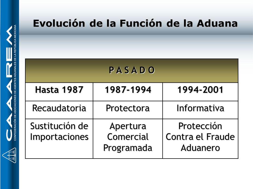 Evolución de la Función de la Aduana P A S A D O Hasta 1987 1987-19941994-2001 RecaudatoriaProtectoraInformativa Sustitución de Importaciones Apertura