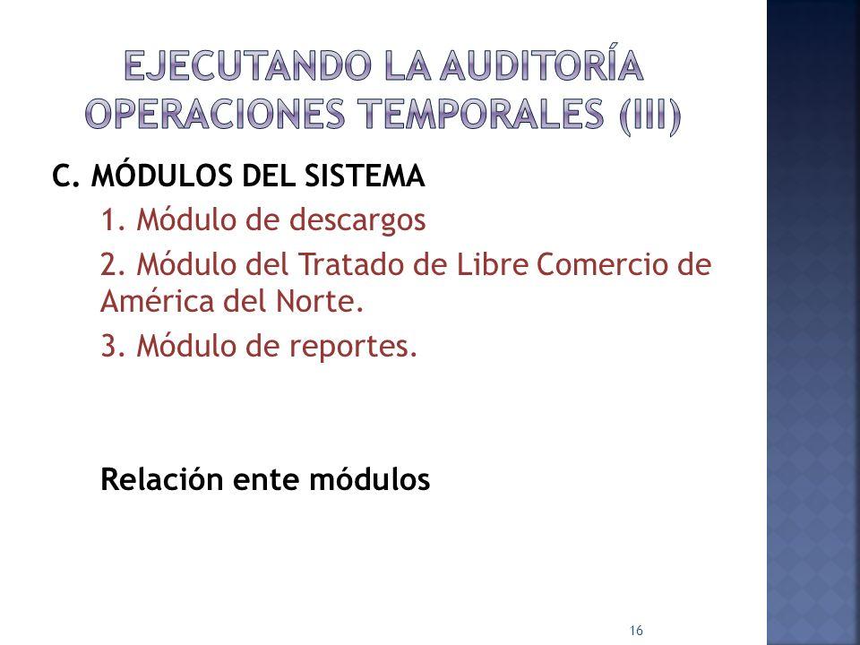 C. MÓDULOS DEL SISTEMA 1. Módulo de descargos 2. Módulo del Tratado de Libre Comercio de América del Norte. 3. Módulo de reportes. Relación ente módul