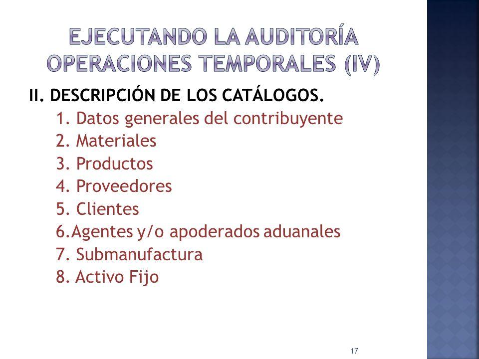 II. DESCRIPCIÓN DE LOS CATÁLOGOS. 1. Datos generales del contribuyente 2. Materiales 3. Productos 4. Proveedores 5. Clientes 6.Agentes y/o apoderados