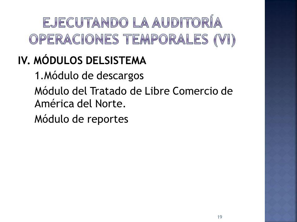IV. MÓDULOS DELSISTEMA 1.Módulo de descargos Módulo del Tratado de Libre Comercio de América del Norte. Módulo de reportes 19