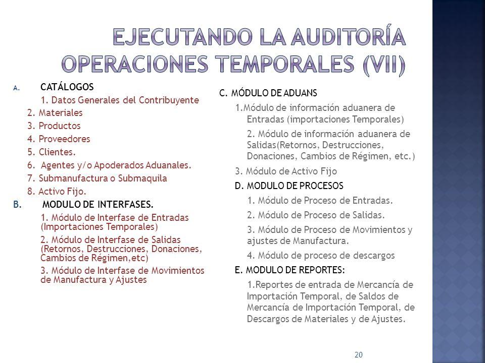 A. CATÁLOGOS 1. Datos Generales del Contribuyente 2. Materiales 3. Productos 4. Proveedores 5. Clientes. 6. Agentes y/o Apoderados Aduanales. 7. Subma