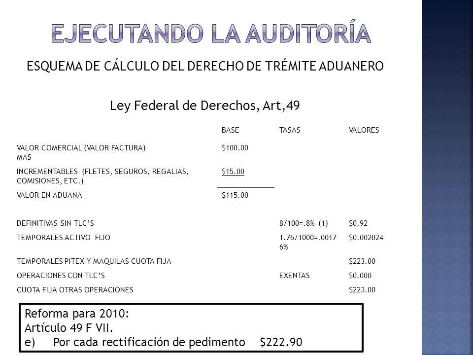 ESQUEMA DE CÁLCULO DEL DERECHO DE TRÉMITE ADUANERO Ley Federal de Derechos, Art,49 5 BASETASASVALORES VALOR COMERCIAL (VALOR FACTURA) MAS $100.00 INCR