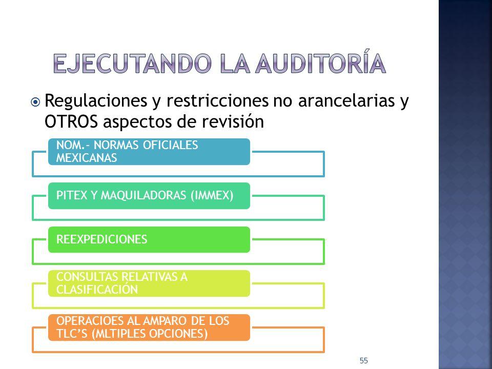 Regulaciones y restricciones no arancelarias y OTROS aspectos de revisión 55