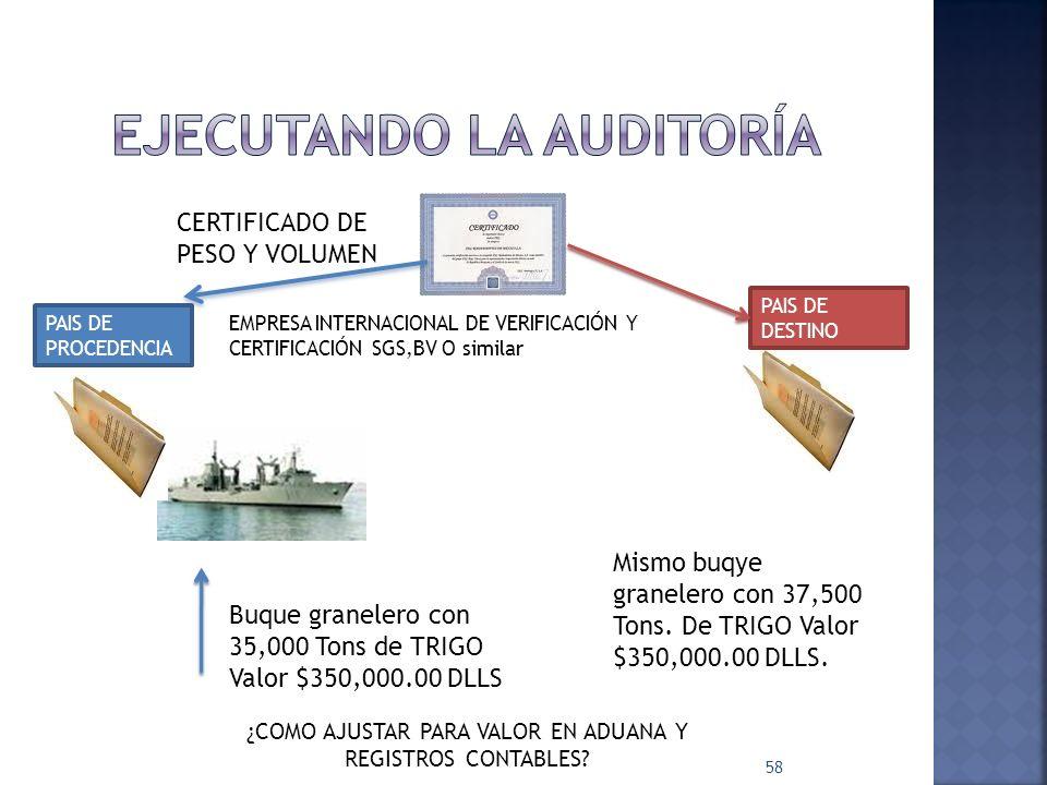 58 CERTIFICADO DE PESO Y VOLUMEN EMPRESA INTERNACIONAL DE VERIFICACIÓN Y CERTIFICACIÓN SGS,BV O similar PAIS DE PROCEDENCIA Buque granelero con 35,000