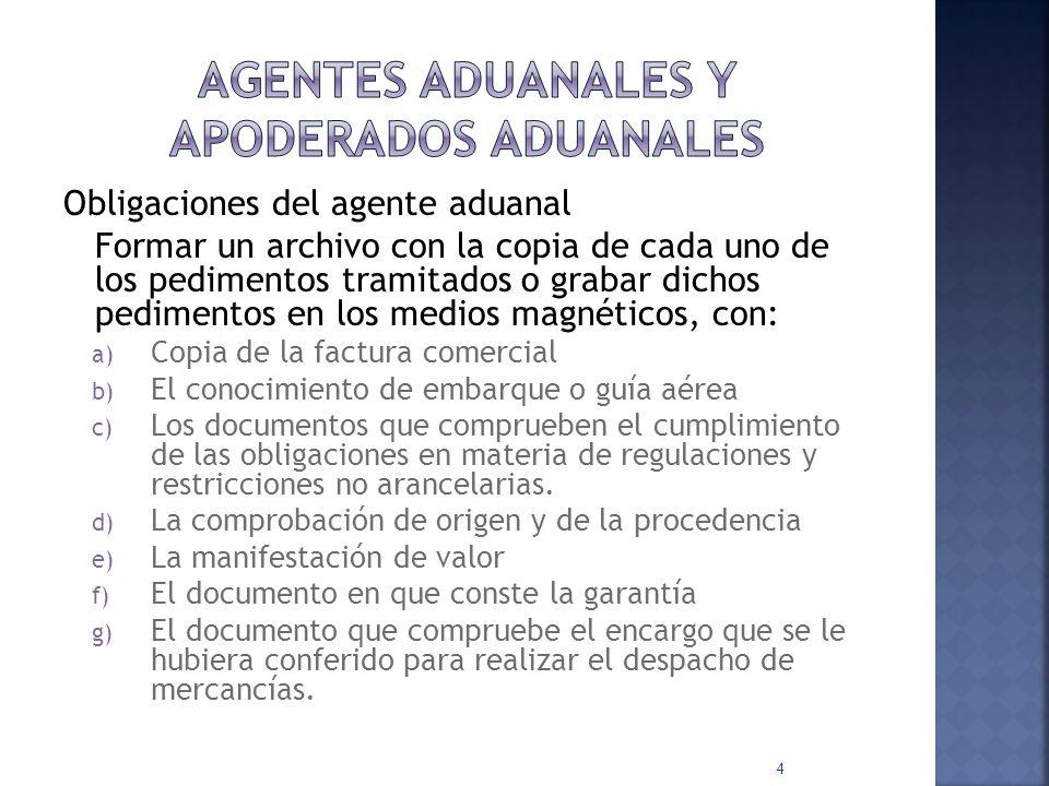 Obligaciones del Agente Aduanal RECONOCIMIENTOS PREVIOS L.A.