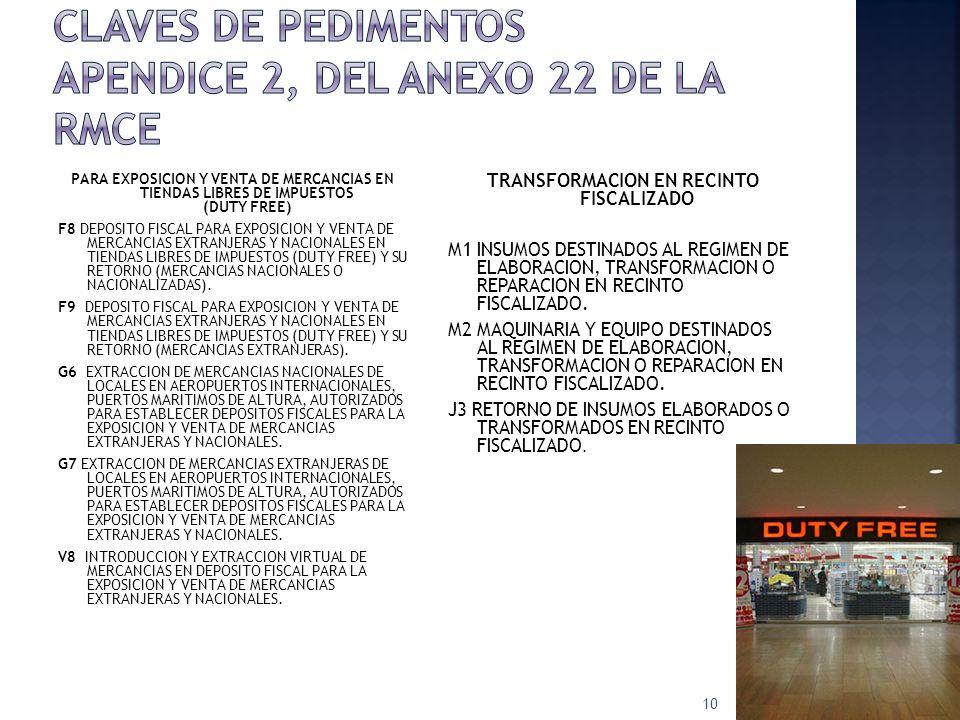 PARA EXPOSICION Y VENTA DE MERCANCIAS EN TIENDAS LIBRES DE IMPUESTOS (DUTY FREE) F8 DEPOSITO FISCAL PARA EXPOSICION Y VENTA DE MERCANCIAS EXTRANJERAS