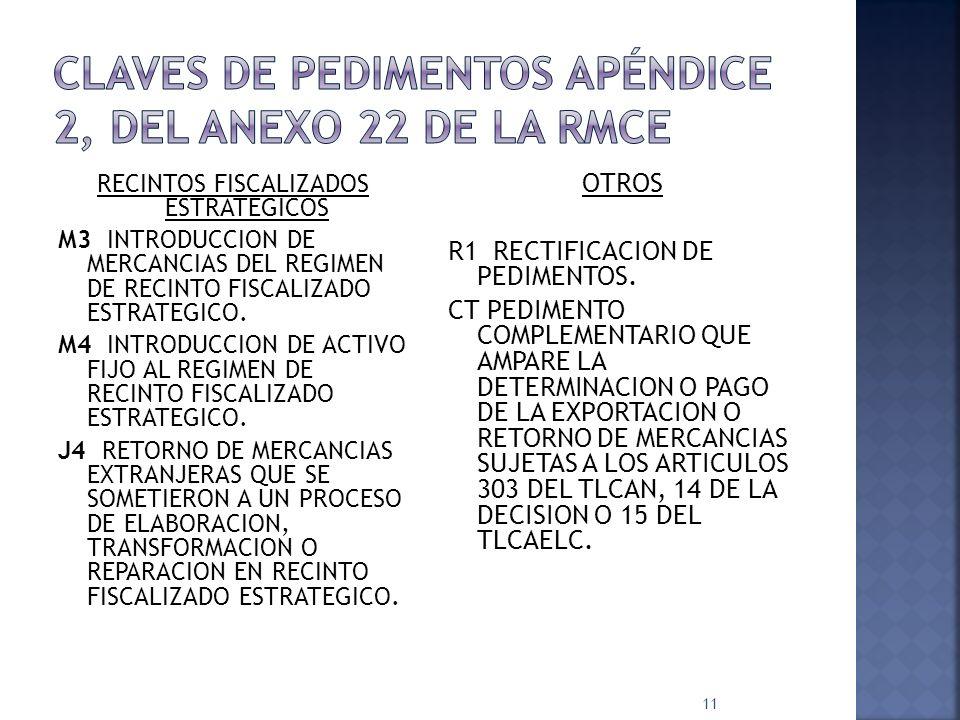 RECINTOS FISCALIZADOS ESTRATEGICOS M3 INTRODUCCION DE MERCANCIAS DEL REGIMEN DE RECINTO FISCALIZADO ESTRATEGICO. M4 INTRODUCCION DE ACTIVO FIJO AL REG