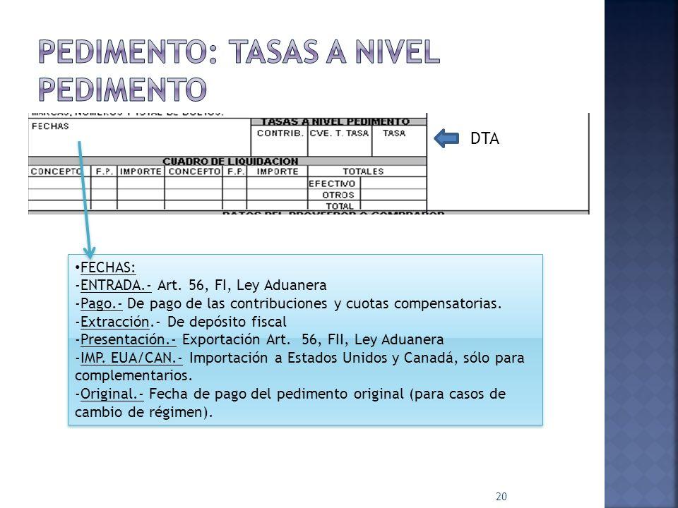 20 FECHAS: -ENTRADA.- Art. 56, FI, Ley Aduanera -Pago.- De pago de las contribuciones y cuotas compensatorias. -Extracción.- De depósito fiscal -Prese