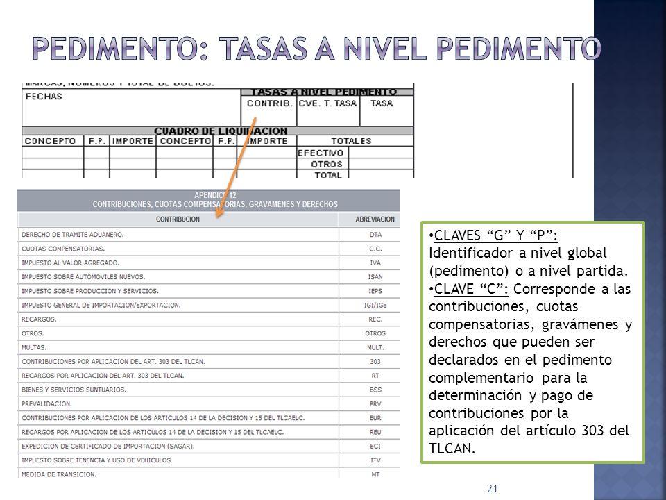 21 CLAVES G Y P: Identificador a nivel global (pedimento) o a nivel partida. CLAVE C: Corresponde a las contribuciones, cuotas compensatorias, graváme