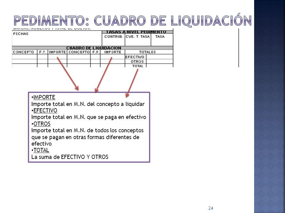 24 IMPORTE Importe total en M.N. del concepto a liquidar EFECTIVO Importe total en M.N. que se paga en efectivo OTROS Importe total en M.N. de todos l