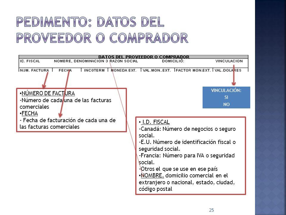 25 NÚMERO DE FACTURA -Número de cada una de las facturas comerciales FECHA - Fecha de facturación de cada una de las facturas comerciales I.D. FISCAL