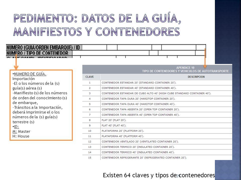 29 Existen 64 claves y tipos de contenedores NUMERO DE GUÍA. Importación -El o los números de la (s) guía(s) aérea (s) -Manifiesto (s) de los números
