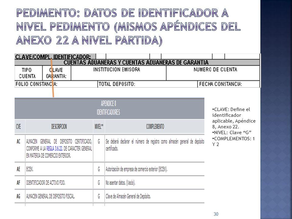 30 CLAVE: Define el identificador aplicable, Apéndice 8, Anexo 22. NIVEL: Clave G COMPLEMENTOS: 1 Y 2