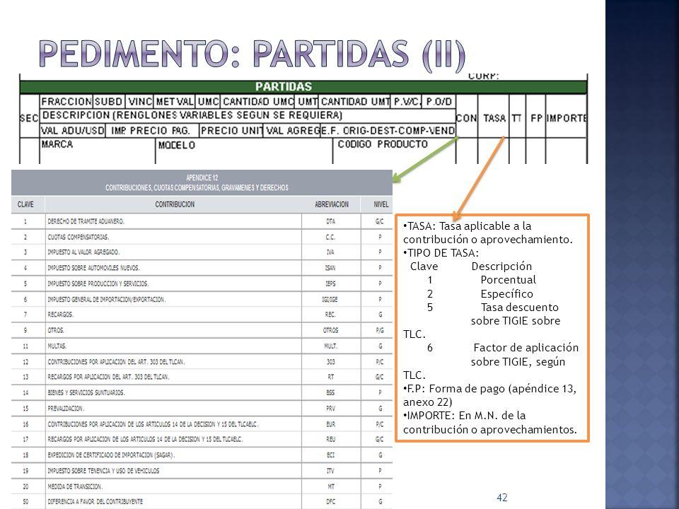 42 TASA: Tasa aplicable a la contribución o aprovechamiento. TIPO DE TASA: Clave Descripción 1 Porcentual 2 Específico 5 Tasa descuento sobre TIGIE so