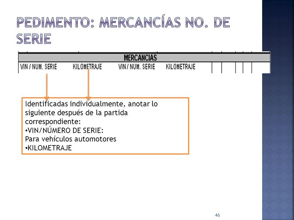 46 Identificadas individualmente, anotar lo siguiente después de la partida correspondiente: VIN/NÚMERO DE SERIE: Para vehículos automotores KILOMETRA