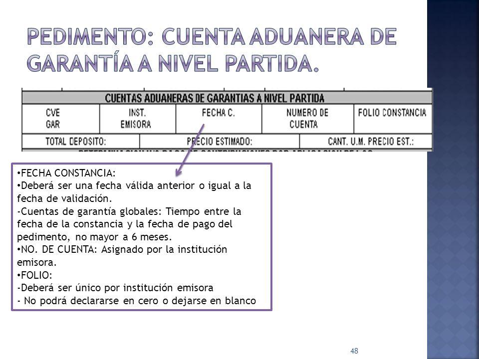 48 FECHA CONSTANCIA: Deberá ser una fecha válida anterior o igual a la fecha de validación. -Cuentas de garantía globales: Tiempo entre la fecha de la