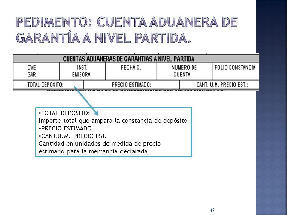 49 TOTAL DEPÓSITO: Importe total que ampara la constancia de depósito PRECIO ESTIMADO CANT.U.M. PRECIO EST. Cantidad en unidades de medida de precio e