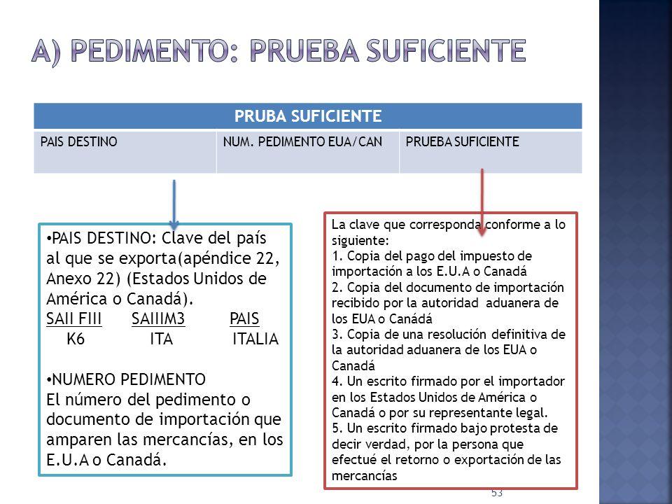53 PRUBA SUFICIENTE PAIS DESTINONUM. PEDIMENTO EUA/CANPRUEBA SUFICIENTE PAIS DESTINO: Clave del país al que se exporta(apéndice 22, Anexo 22) (Estados