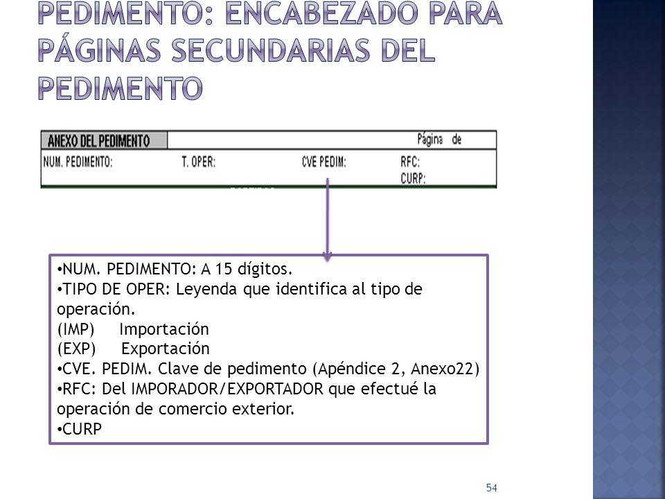 54 NUM. PEDIMENTO: A 15 dígitos. TIPO DE OPER: Leyenda que identifica al tipo de operación. (IMP) Importación (EXP) Exportación CVE. PEDIM. Clave de p
