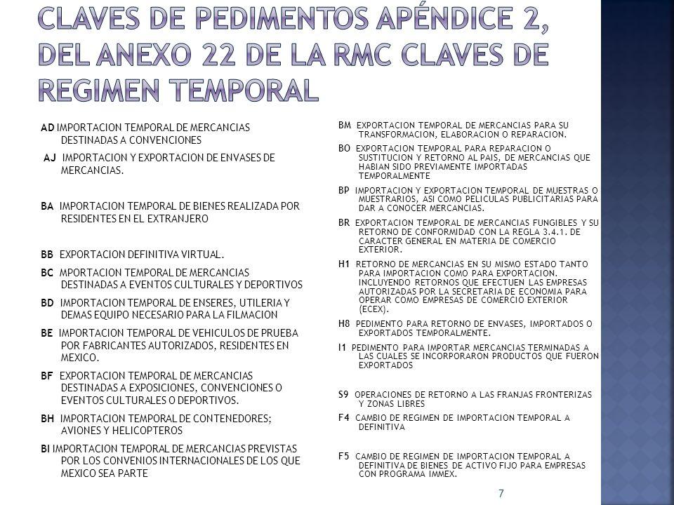 AD IMPORTACION TEMPORAL DE MERCANCIAS DESTINADAS A CONVENCIONES AJ IMPORTACION Y EXPORTACION DE ENVASES DE MERCANCIAS. BA IMPORTACION TEMPORAL DE BIEN