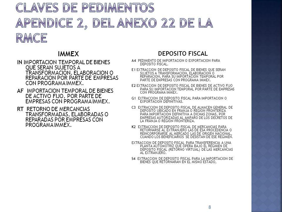 19 ACUSE ELECTRÓNICO DE VALIDACIÓN -8caracteres con el que se comprueba que la autoridad ha recibido la información para procesar el pedimento CÓDIGO DE BARRAS -Impreso por el Agente Aduanal o Apoderado (al menos en la copia del transportista)(Apéndice 17).
