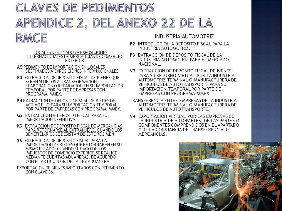 LOCALES DESTINADOS A EXPOSICIONES INTERNACIONALES DE MERCANCÍAS DE COMERCIO EXTERIOR A5 PEDIMENTO DE IMPORTACION EN LOCALES DESTINADOS A EXPOSICIONES