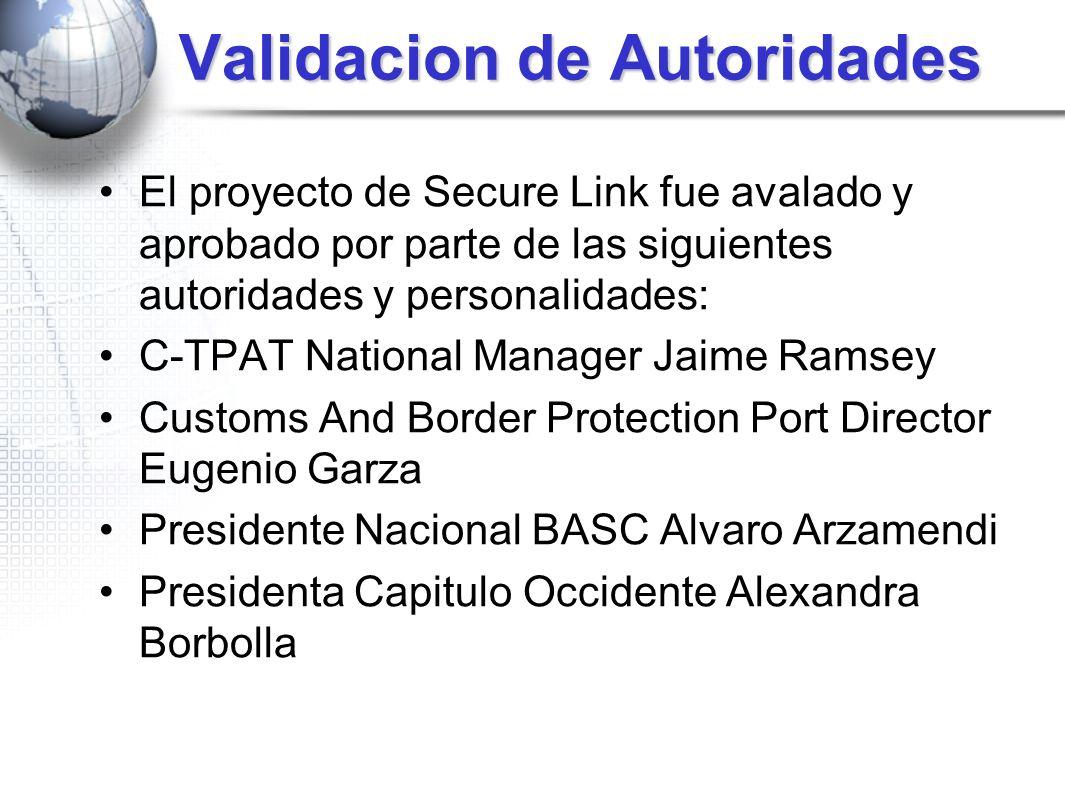 Validacion de Autoridades El proyecto de Secure Link fue avalado y aprobado por parte de las siguientes autoridades y personalidades: C-TPAT National