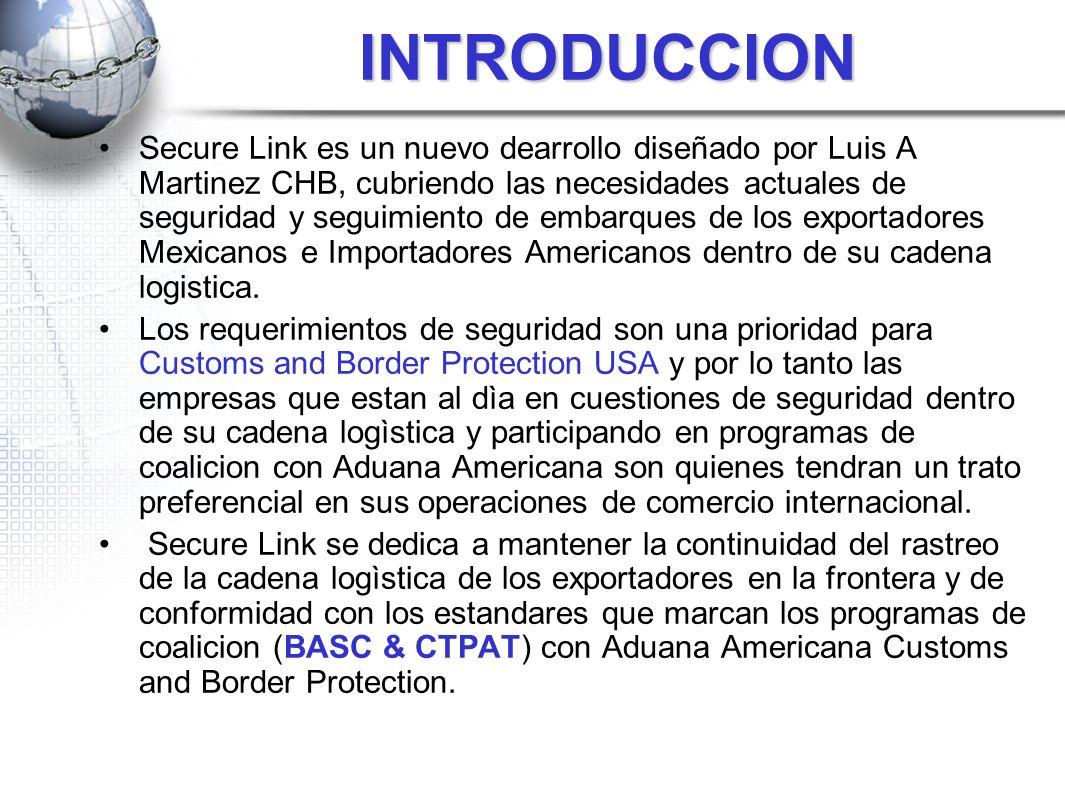 INTRODUCCION Secure Link es un nuevo dearrollo diseñado por Luis A Martinez CHB, cubriendo las necesidades actuales de seguridad y seguimiento de emba
