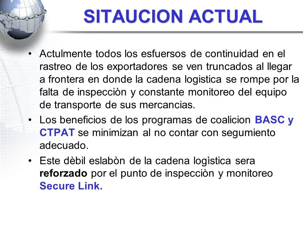 SITAUCION ACTUAL Actulmente todos los esfuersos de continuidad en el rastreo de los exportadores se ven truncados al llegar a frontera en donde la cad