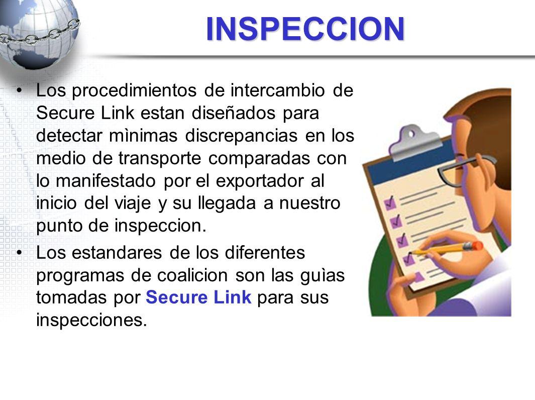 INSPECCION Los procedimientos de intercambio de Secure Link estan diseñados para detectar mìnimas discrepancias en los medio de transporte comparadas