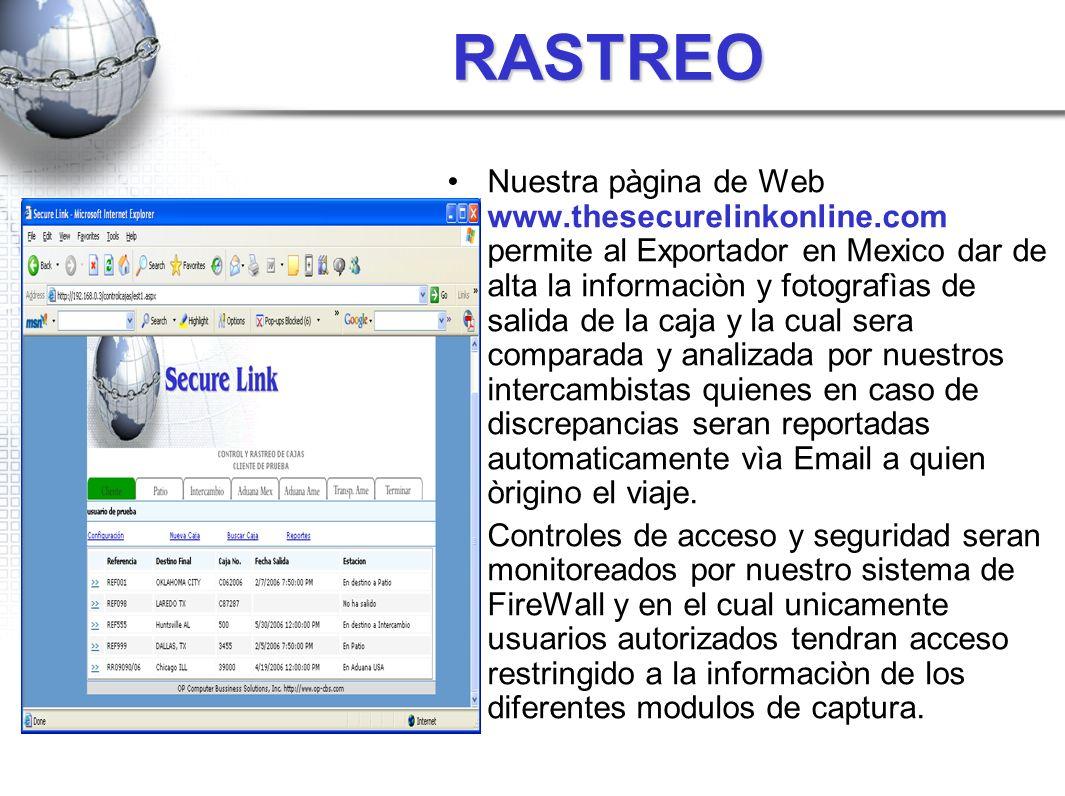 RASTREO Nuestra pàgina de Web www.thesecurelinkonline.com permite al Exportador en Mexico dar de alta la informaciòn y fotografìas de salida de la caj