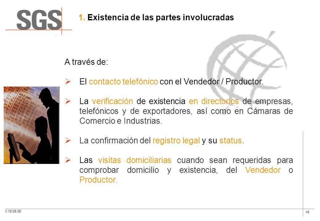 16 A través de: El contacto telefónico con el Vendedor / Productor. La verificación de existencia en directorios de empresas, telefónicos y de exporta