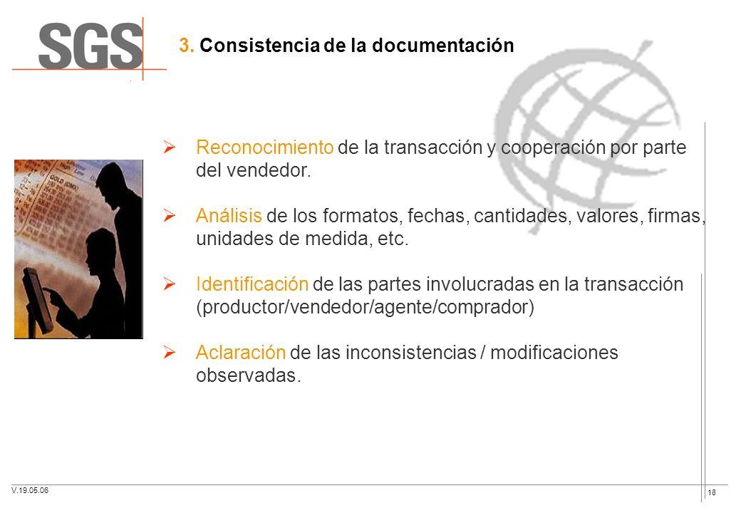 18 3. Consistencia de la documentación Reconocimiento de la transacción y cooperación por parte del vendedor. Análisis de los formatos, fechas, cantid