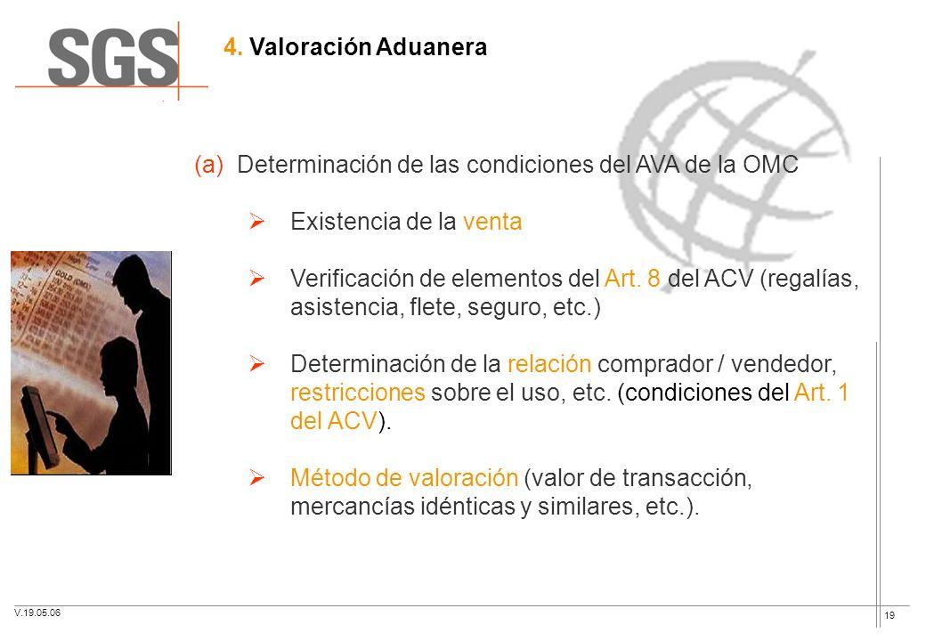 19 4. Valoración Aduanera (a)Determinación de las condiciones del AVA de la OMC Existencia de la venta Verificación de elementos del Art. 8 del ACV (r