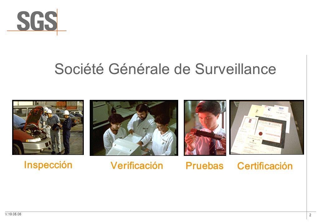 2 Société Générale de Surveillance Inspección Verificación Pruebas Certificación V.19.05.06