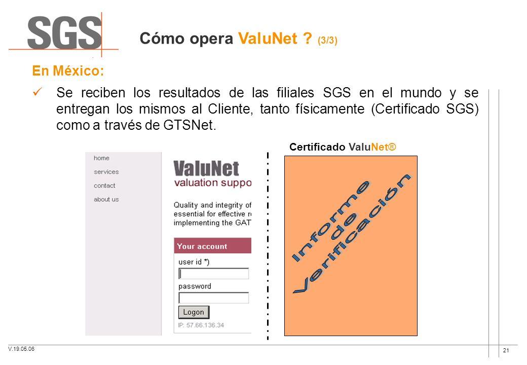 21 Certificado ValuNet® En México: Se reciben los resultados de las filiales SGS en el mundo y se entregan los mismos al Cliente, tanto físicamente (C