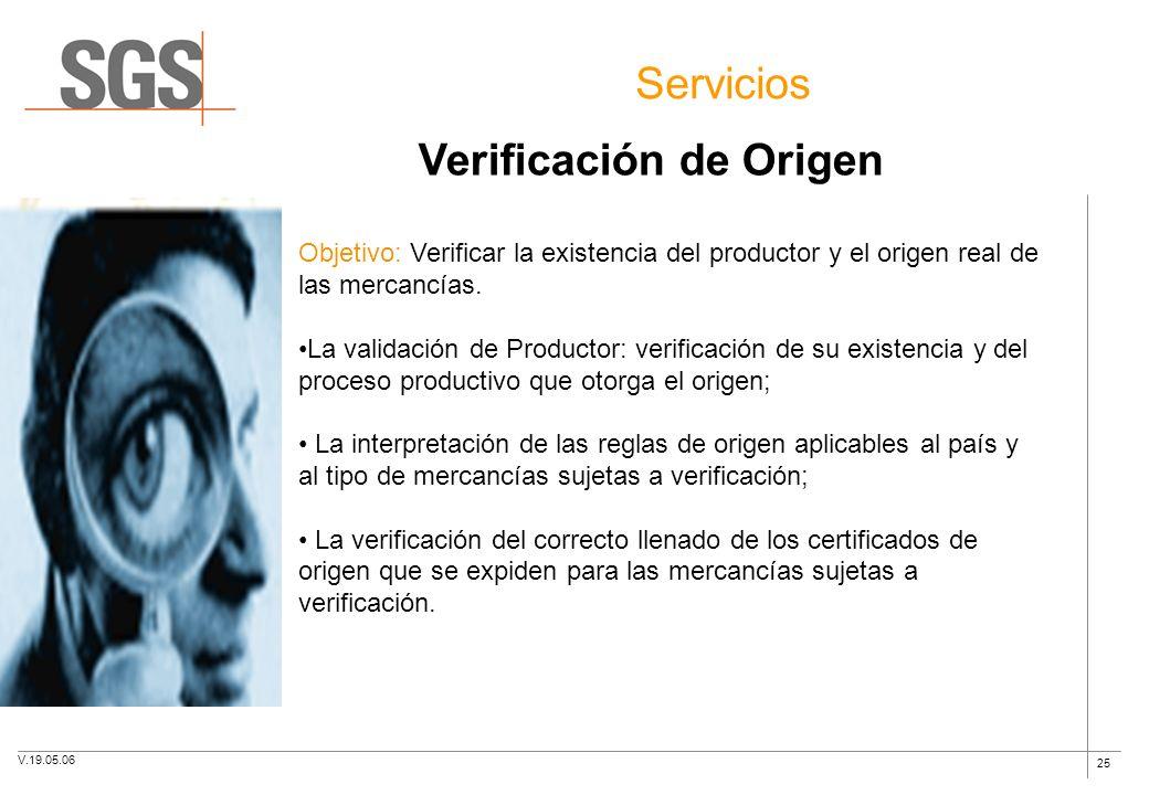 25 Servicios Verificación de Origen Objetivo: Verificar la existencia del productor y el origen real de las mercancías. La validación de Productor: ve