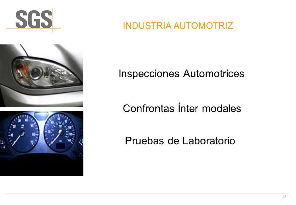 27 INDUSTRIA AUTOMOTRIZ Inspecciones Automotrices Confrontas Ínter modales Pruebas de Laboratorio