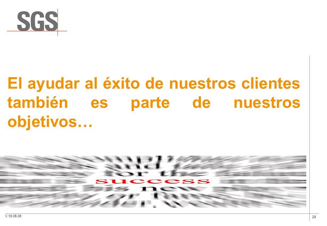 28 El ayudar al éxito de nuestros clientes también es parte de nuestros objetivos… V.19.05.06