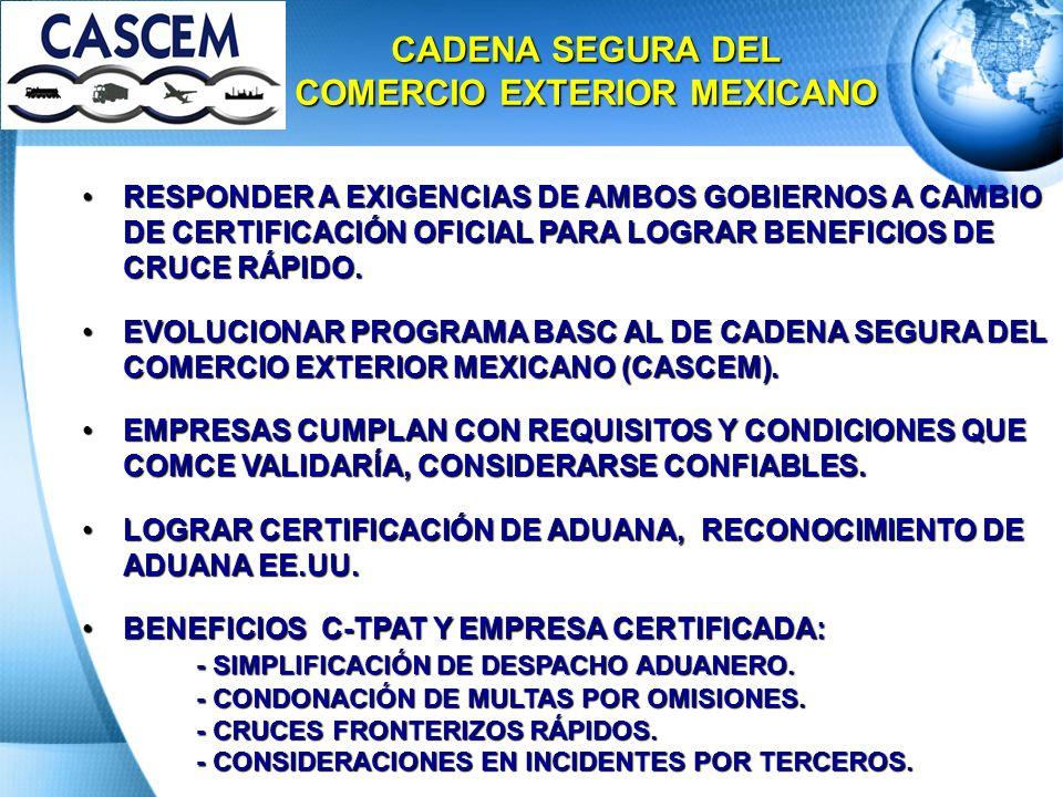 CADENA SEGURA DEL COMERCIO EXTERIOR MEXICANO RESPONDER A EXIGENCIAS DE AMBOS GOBIERNOS A CAMBIO DE CERTIFICACIÓN OFICIAL PARA LOGRAR BENEFICIOS DE CRU