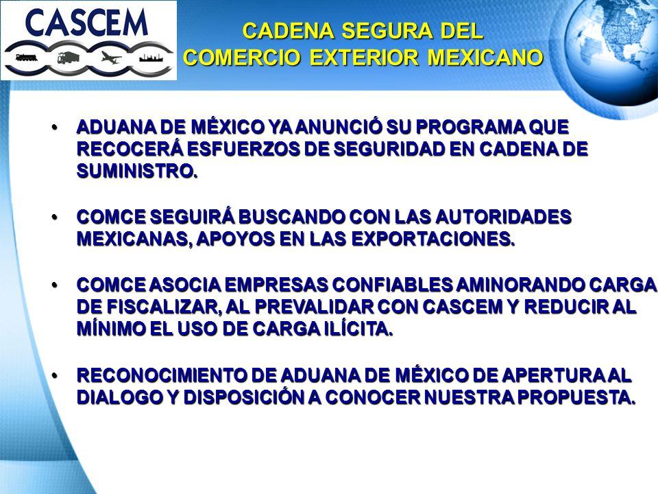 ADUANA DE MÉXICO YA ANUNCIÓ SU PROGRAMA QUE RECOCERÁ ESFUERZOS DE SEGURIDAD EN CADENA DE SUMINISTRO.ADUANA DE MÉXICO YA ANUNCIÓ SU PROGRAMA QUE RECOCE