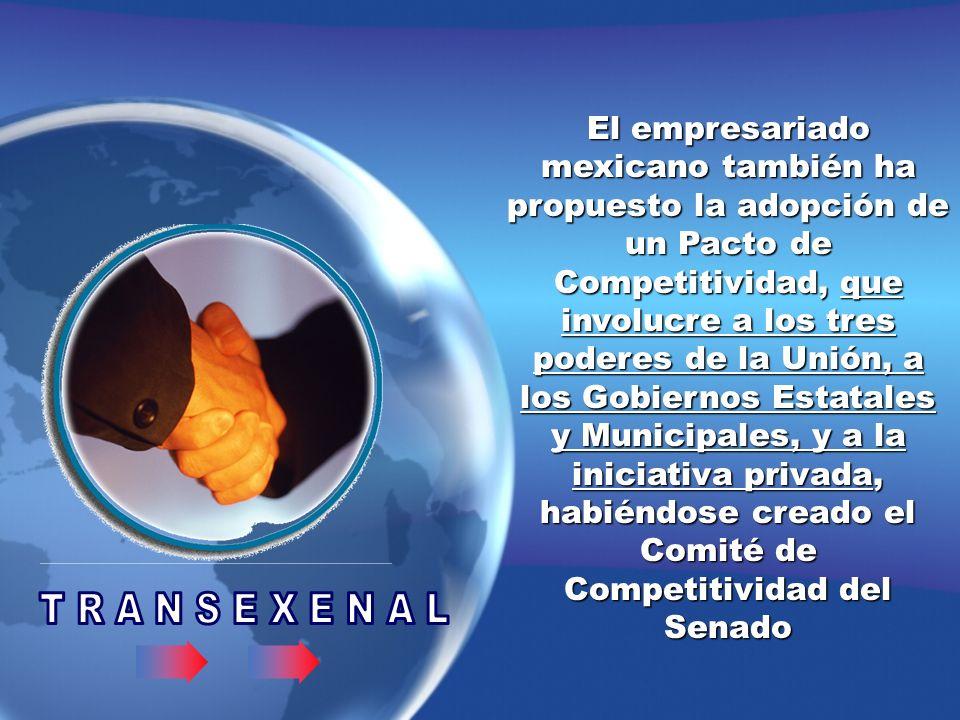 El empresariado mexicano también ha propuesto la adopción de un Pacto de Competitividad, que involucre a los tres poderes de la Unión, a los Gobiernos