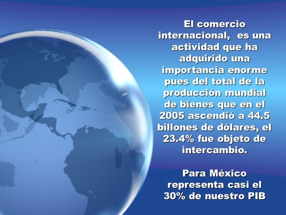 El comercio internacional, es una actividad que ha adquirido una importancia enorme pues del total de la producción mundial de bienes que en el 2005 a
