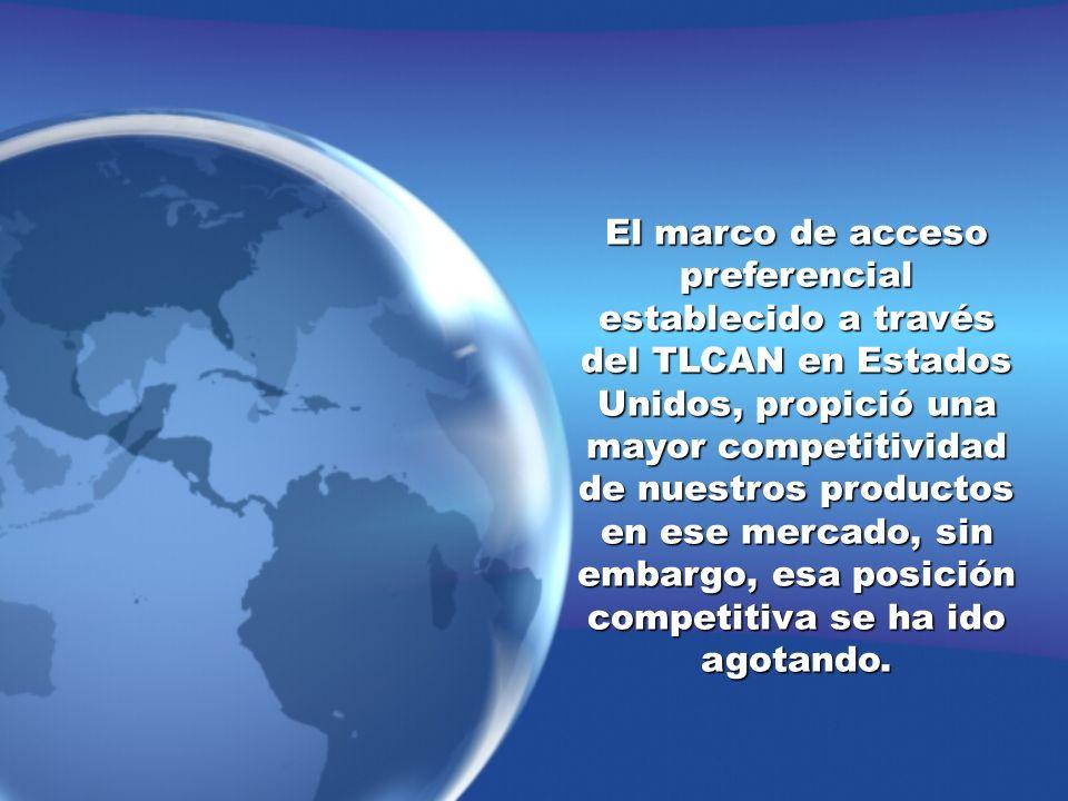 El marco de acceso preferencial establecido a través del TLCAN en Estados Unidos, propició una mayor competitividad de nuestros productos en ese merca